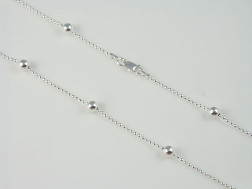 min beaded silver dogtag clasp chain chains